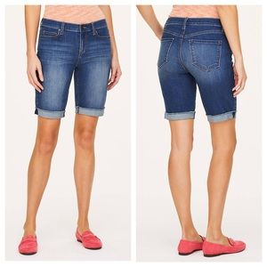 LOFT Frayed Hem Denim Bermuda Shorts 8/29